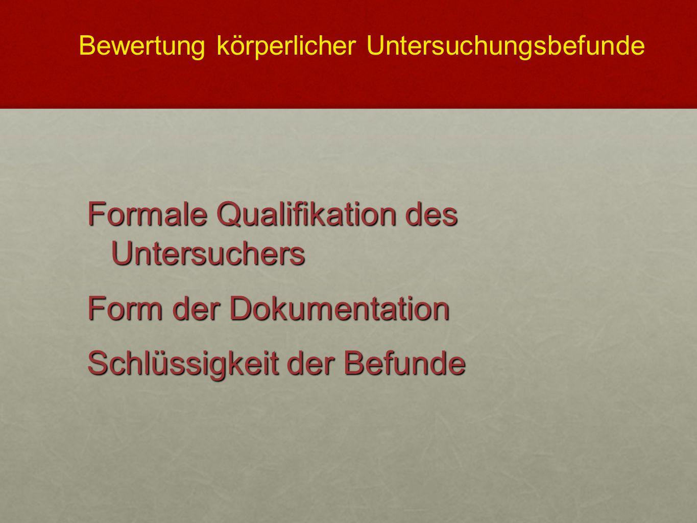 Formale Qualifikation des Untersuchers Form der Dokumentation Schlüssigkeit der Befunde Bewertung körperlicher Untersuchungsbefunde