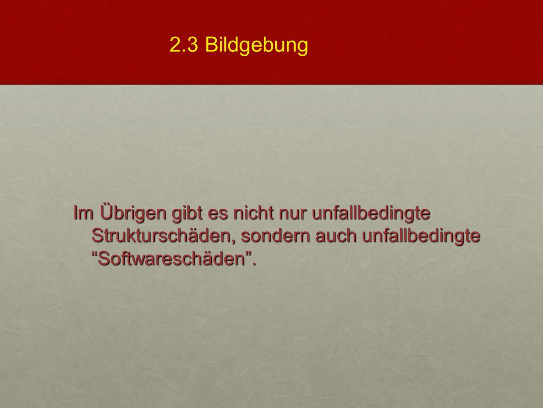 """Im Übrigen gibt es nicht nur unfallbedingte Strukturschäden, sondern auch unfallbedingte """"Softwareschäden"""". 2.3 Bildgebung"""