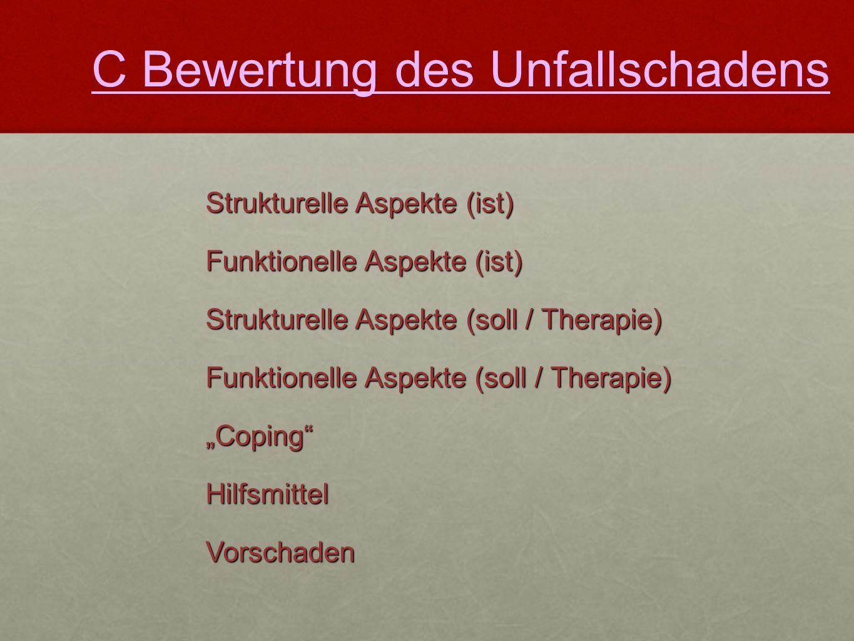 """Strukturelle Aspekte (ist) Funktionelle Aspekte (ist) Strukturelle Aspekte (soll / Therapie) Funktionelle Aspekte (soll / Therapie) """"Coping"""" Hilfsmitt"""