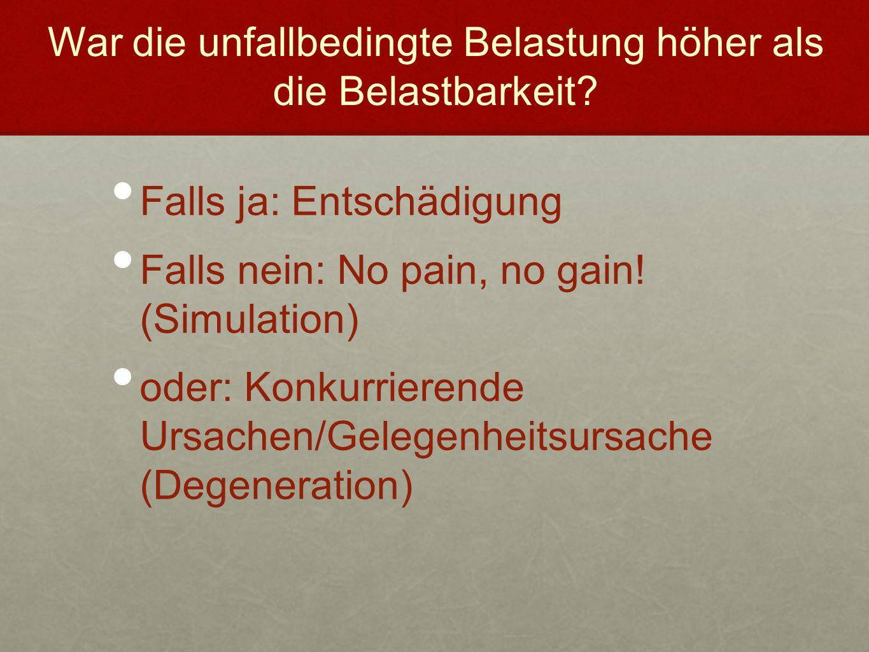 War die unfallbedingte Belastung höher als die Belastbarkeit? Falls ja: Entschädigung Falls nein: No pain, no gain! (Simulation) oder: Konkurrierende