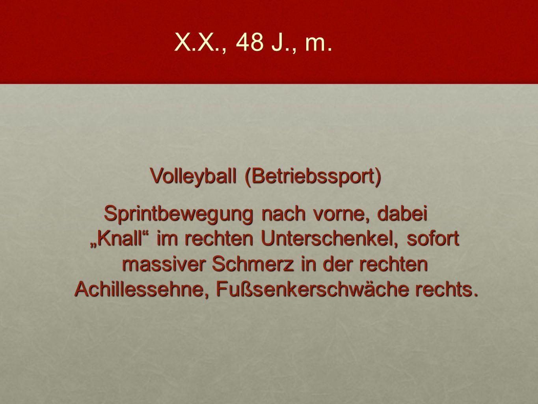 """Volleyball (Betriebssport) Sprintbewegung nach vorne, dabei """"Knall"""" im rechten Unterschenkel, sofort massiver Schmerz in der rechten Achillessehne, Fu"""