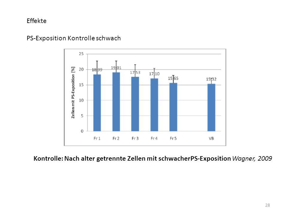 28 Effekte PS-Exposition Kontrolle schwach Kontrolle: Nach alter getrennte Zellen mit schwacherPS-Exposition Wagner, 2009