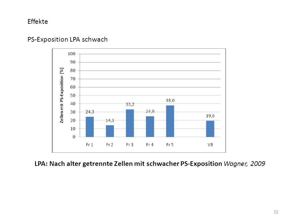 32 Effekte PS-Exposition LPA schwach LPA: Nach alter getrennte Zellen mit schwacher PS-Exposition Wagner, 2009