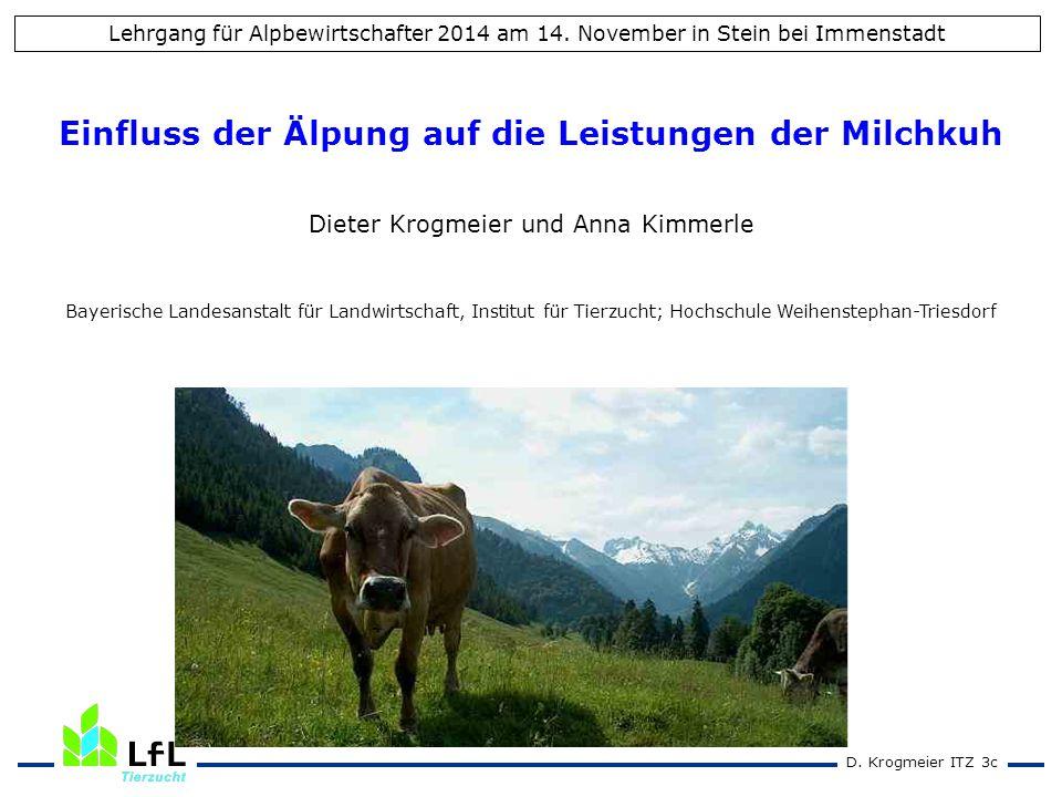 D. Krogmeier ITZ 3c Einfluss der Älpung auf die Leistungen der Milchkuh Dieter Krogmeier und Anna Kimmerle Bayerische Landesanstalt für Landwirtschaft