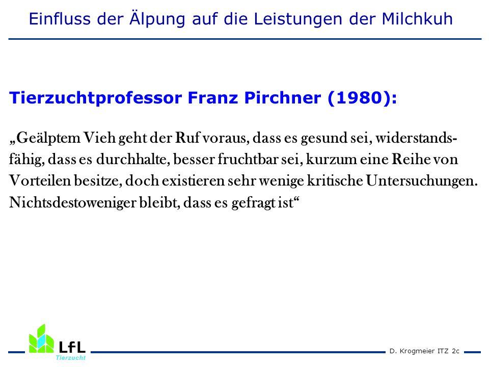 """D. Krogmeier ITZ 2c Einfluss der Älpung auf die Leistungen der Milchkuh Tierzuchtprofessor Franz Pirchner (1980): """"Geälptem Vieh geht der Ruf voraus,"""