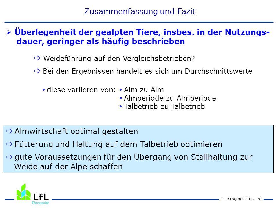 D. Krogmeier ITZ 3c  diese variieren von:  Alm zu Alm  Almperiode zu Almperiode  Talbetrieb zu Talbetrieb  Überlegenheit der gealpten Tiere, insb