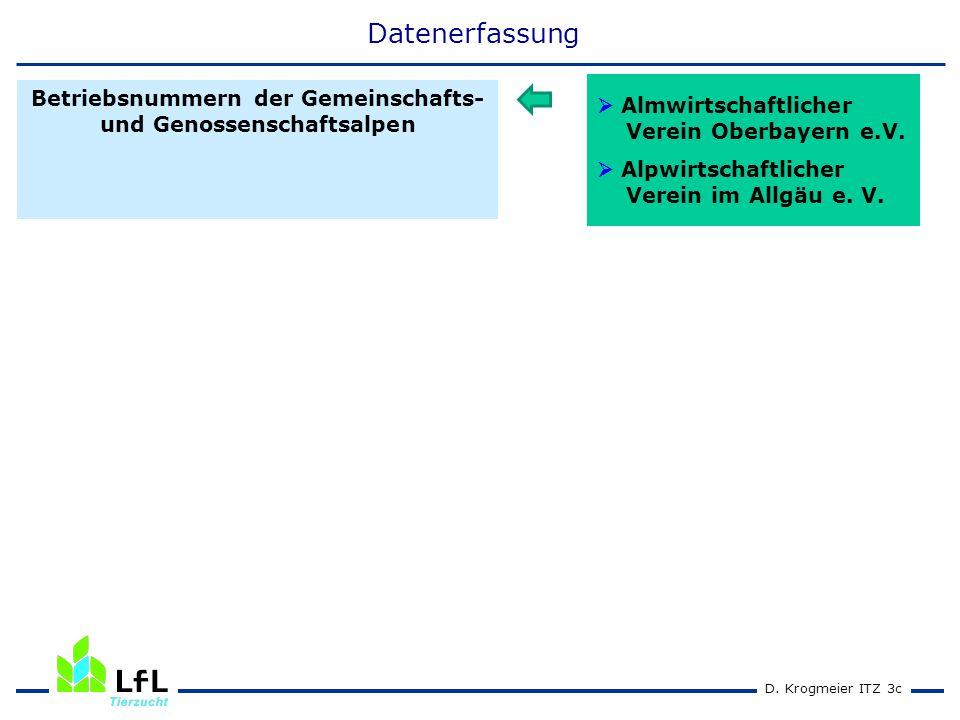 D. Krogmeier ITZ 3c Betriebsnummern der Gemeinschafts- und Genossenschaftsalpen Datenerfassung  Almwirtschaftlicher Verein Oberbayern e.V.  Alpwirts