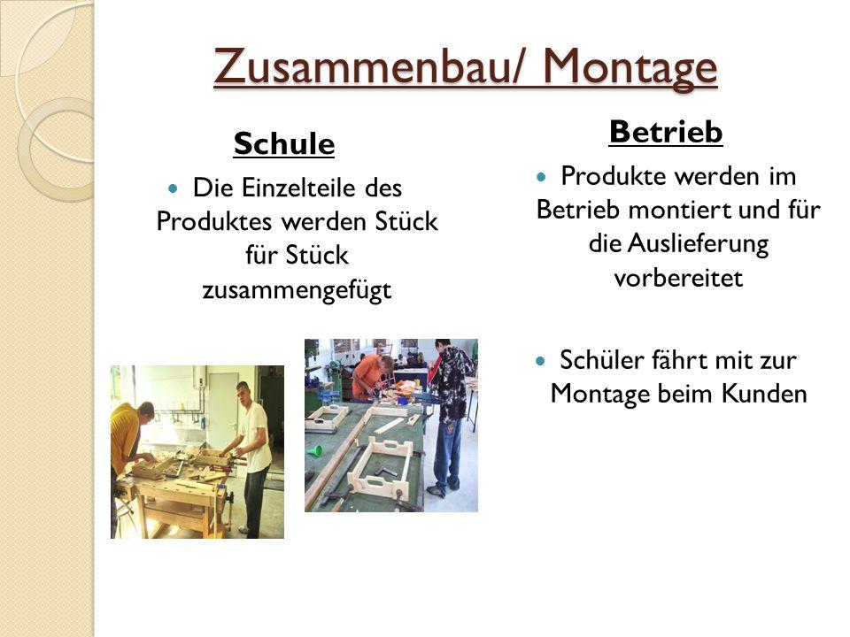 Zusammenbau/ Montage Schule Die Einzelteile des Produktes werden Stück für Stück zusammengefügt Betrieb Produkte werden im Betrieb montiert und für die Auslieferung vorbereitet Schüler fährt mit zur Montage beim Kunden