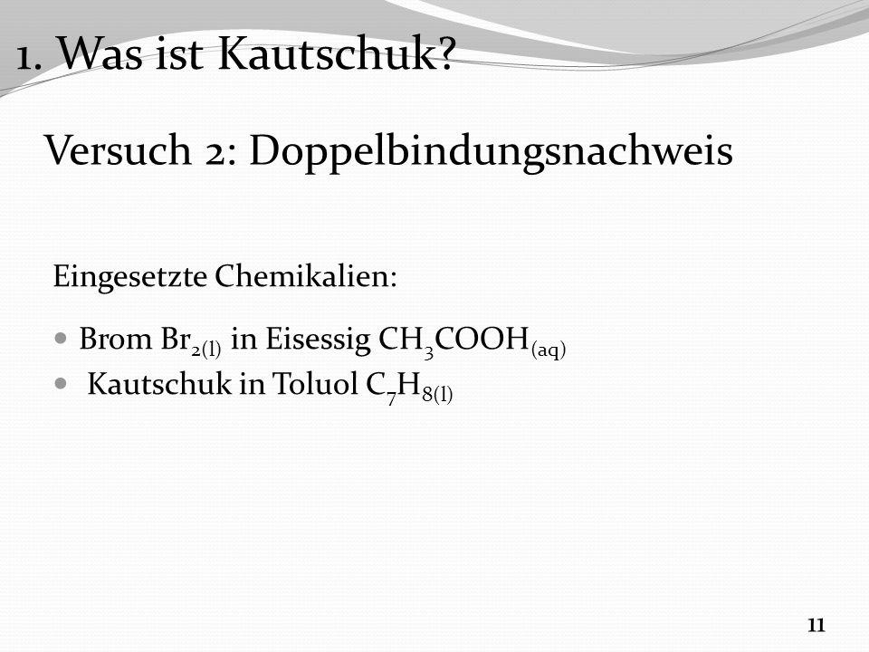 Versuch 2: Doppelbindungsnachweis Eingesetzte Chemikalien: Brom Br 2(l) in Eisessig CH 3 COOH (aq) Kautschuk in Toluol C 7 H 8(l) 11 1.