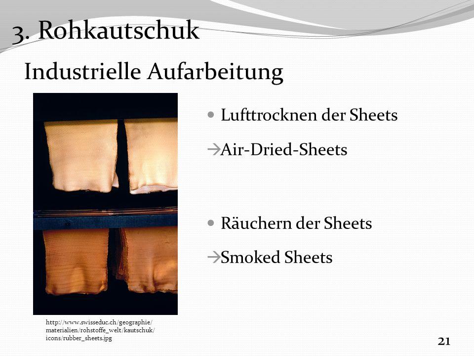 Industrielle Aufarbeitung Lufttrocknen der Sheets  Air-Dried-Sheets Räuchern der Sheets  Smoked Sheets 21 http://www.swisseduc.ch/geographie/ materialien/rohstoffe_welt/kautschuk/ icons/rubber_sheets.jpg 3.