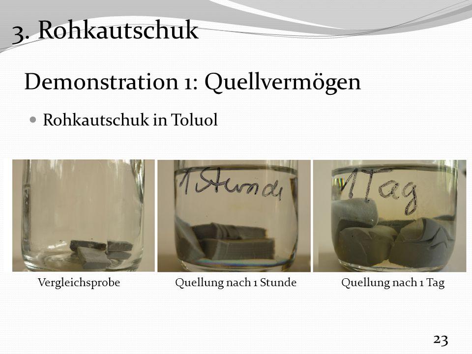 Demonstration 1: Quellvermögen Rohkautschuk in Toluol 23 VergleichsprobeQuellung nach 1 StundeQuellung nach 1 Tag 3.