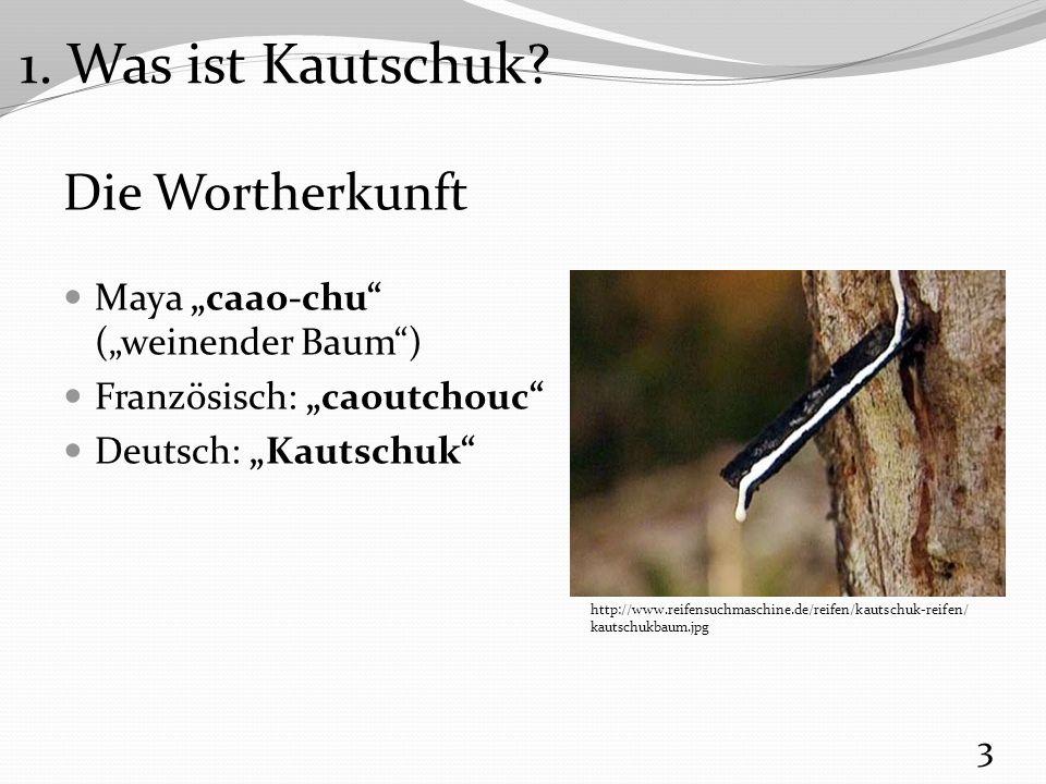 """Der weinende Baum """"Hevea brasiliensis – botanischer Name des """"weinenden Baumes Heimat: Amazonasgebiet Gruppe der Wolfsmilchgewächse Wichtigster Naturkautschuk- lieferant: 90 % 95 % des Naturkautschuks aus Südost-Asien 4 http://online-media.uni-marburg.de/biologie/ nutzpflanzen/carina/Gummi2.jpg 1."""
