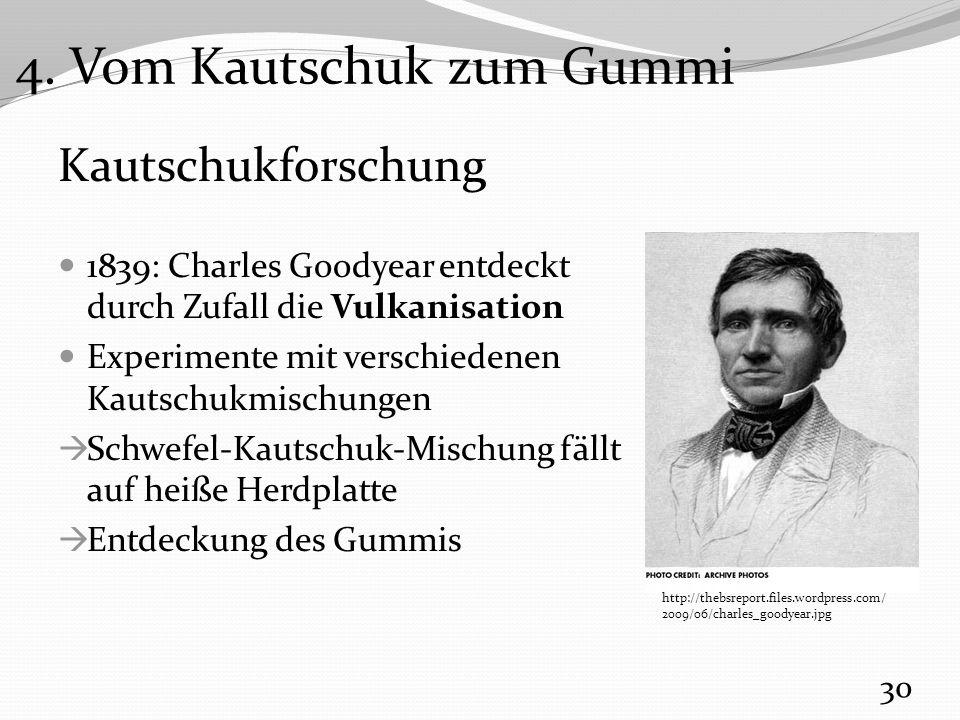 Kautschukforschung 1839: Charles Goodyear entdeckt durch Zufall die Vulkanisation Experimente mit verschiedenen Kautschukmischungen  Schwefel-Kautschuk-Mischung fällt auf heiße Herdplatte  Entdeckung des Gummis 30 4.
