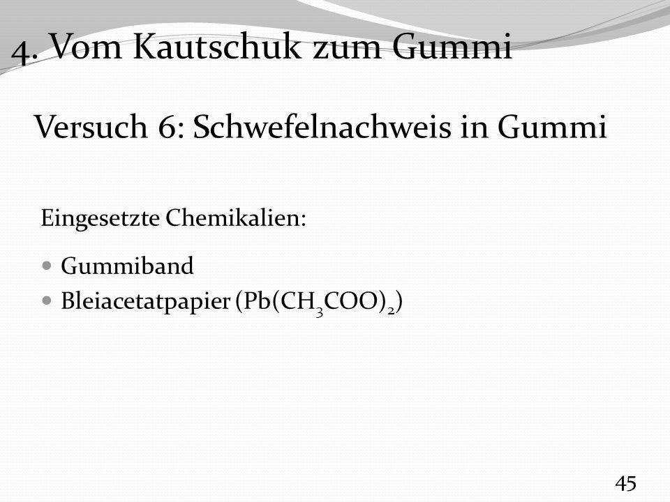 Versuch 6: Schwefelnachweis in Gummi Eingesetzte Chemikalien: Gummiband Bleiacetatpapier (Pb(CH 3 COO) 2 ) 45 4.