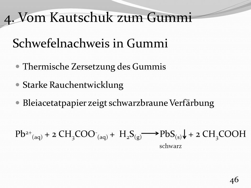 Schwefelnachweis in Gummi Thermische Zersetzung des Gummis Starke Rauchentwicklung Bleiacetatpapier zeigt schwarzbraune Verfärbung Pb 2+ (aq) + 2 CH 3 COO - (aq) + H 2 S (g) PbS (s) + 2 CH 3 COOH 46 schwarz 4.