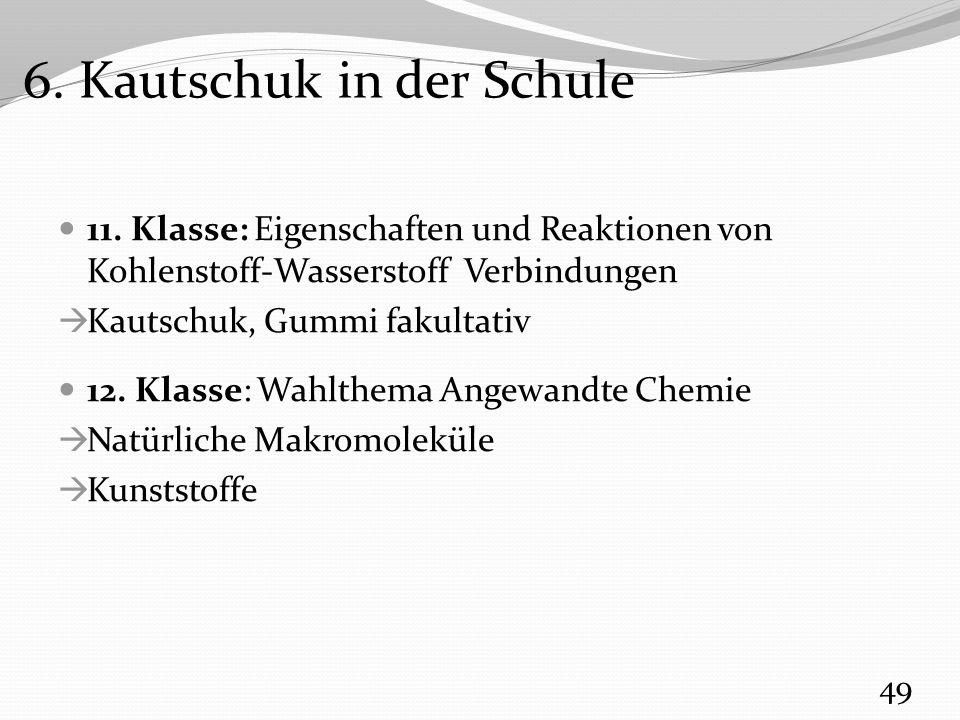 11. Klasse: Eigenschaften und Reaktionen von Kohlenstoff-Wasserstoff Verbindungen  Kautschuk, Gummi fakultativ 12. Klasse: Wahlthema Angewandte Chemi