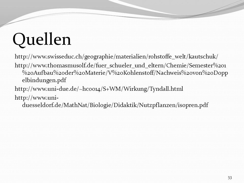 http://www.swisseduc.ch/geographie/materialien/rohstoffe_welt/kautschuk/ http://www.thomasmusolf.de/fuer_schueler_und_eltern/Chemie/Semester%201 %20Aufbau%20der%20Materie/V%20Kohlenstoff/Nachweis%20von%20Dopp elbindungen.pdf http://www.uni-due.de/~hc0014/S+WM/Wirkung/Tyndall.html http://www.uni- duesseldorf.de/MathNat/Biologie/Didaktik/Nutzpflanzen/isopren.pdf 53 Quellen