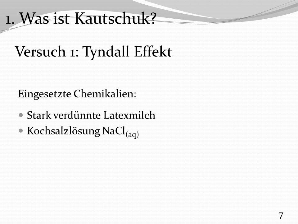 Versuch 1: Tyndall Effekt Eingesetzte Chemikalien: Stark verdünnte Latexmilch Kochsalzlösung NaCl (aq) 7 1.