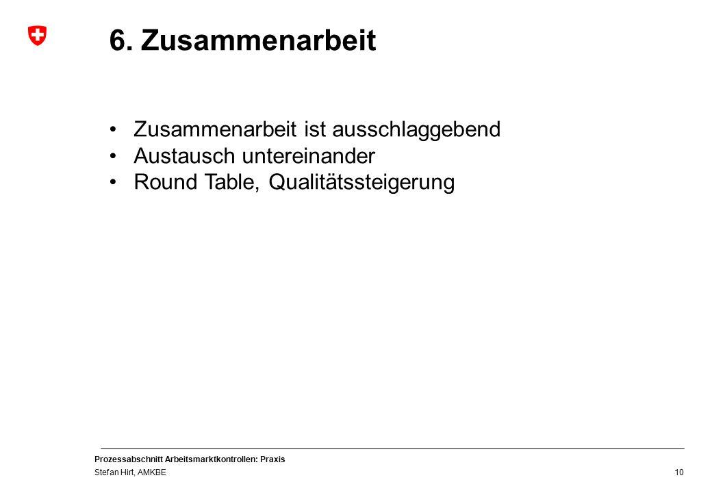 Prozessabschnitt Arbeitsmarktkontrollen: Praxis Stefan Hirt, AMKBE 10 6.