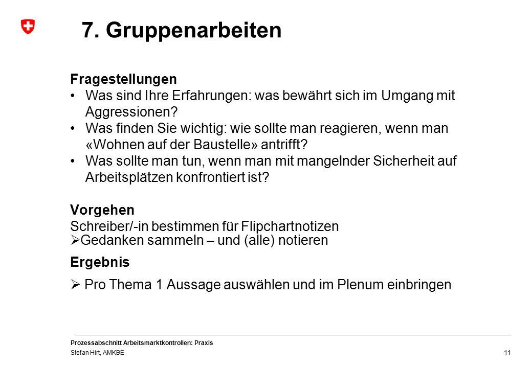 Prozessabschnitt Arbeitsmarktkontrollen: Praxis Stefan Hirt, AMKBE 11 7.