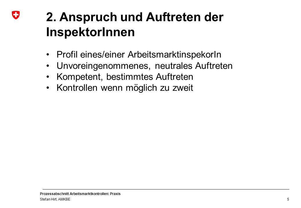 Prozessabschnitt Arbeitsmarktkontrollen: Praxis Stefan Hirt, AMKBE 5 2.