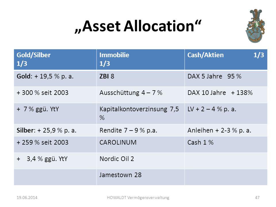 """Asset Allocation Gold/Silber 1/3 Immobilie 1/3 Cash/Aktien 1/3 Gold: + 19,5 % p."
