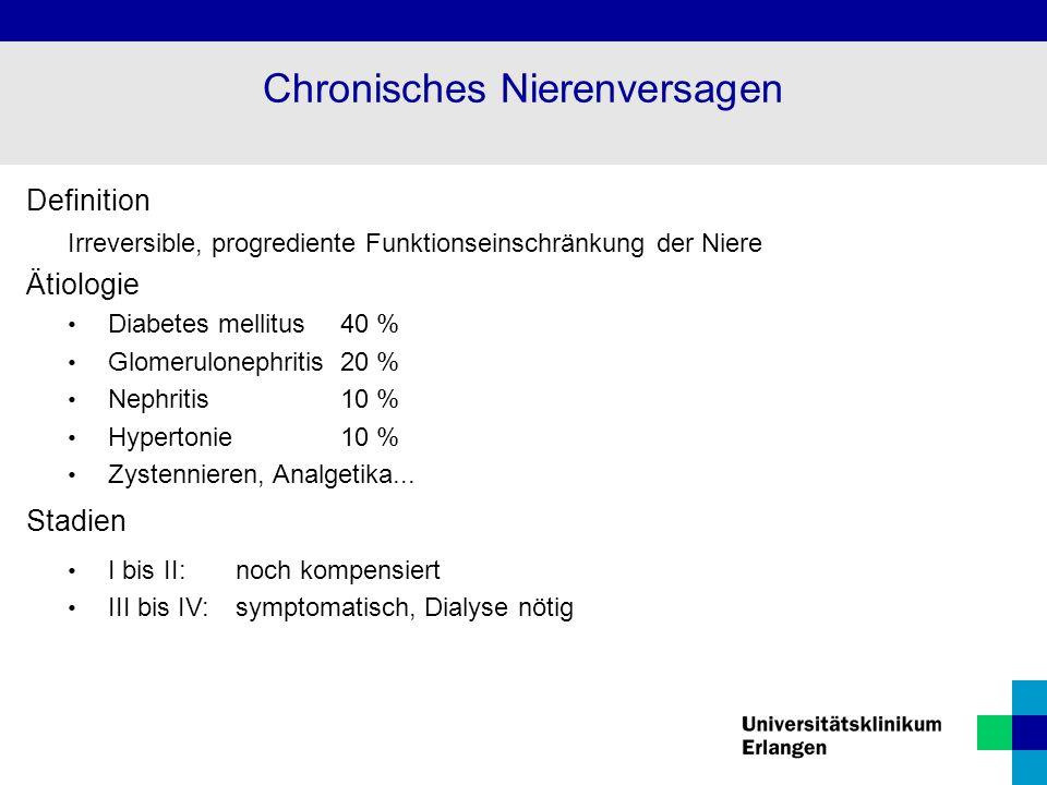 Definition Irreversible, progrediente Funktionseinschränkung der Niere Ätiologie Diabetes mellitus 40 % Glomerulonephritis20 % Nephritis 10 % Hypertonie10 % Zystennieren, Analgetika...