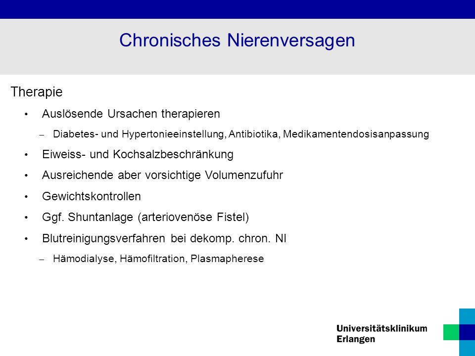 Therapie Auslösende Ursachen therapieren  Diabetes- und Hypertonieeinstellung, Antibiotika, Medikamentendosisanpassung Eiweiss- und Kochsalzbeschränk