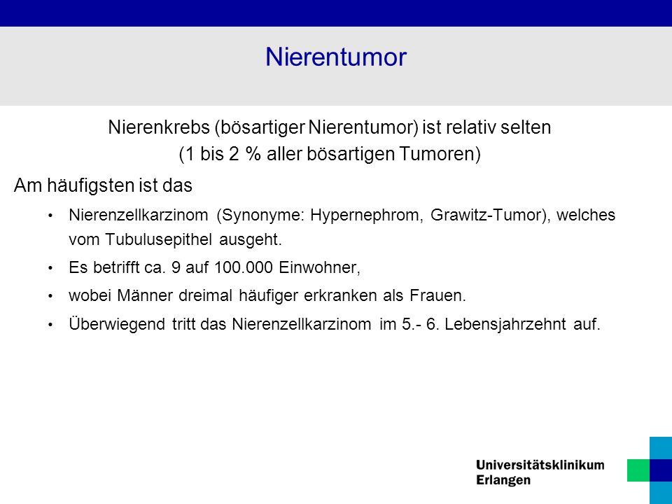Nierenkrebs (bösartiger Nierentumor) ist relativ selten (1 bis 2 % aller bösartigen Tumoren) Am häufigsten ist das Nierenzellkarzinom (Synonyme: Hypernephrom, Grawitz-Tumor), welches vom Tubulusepithel ausgeht.