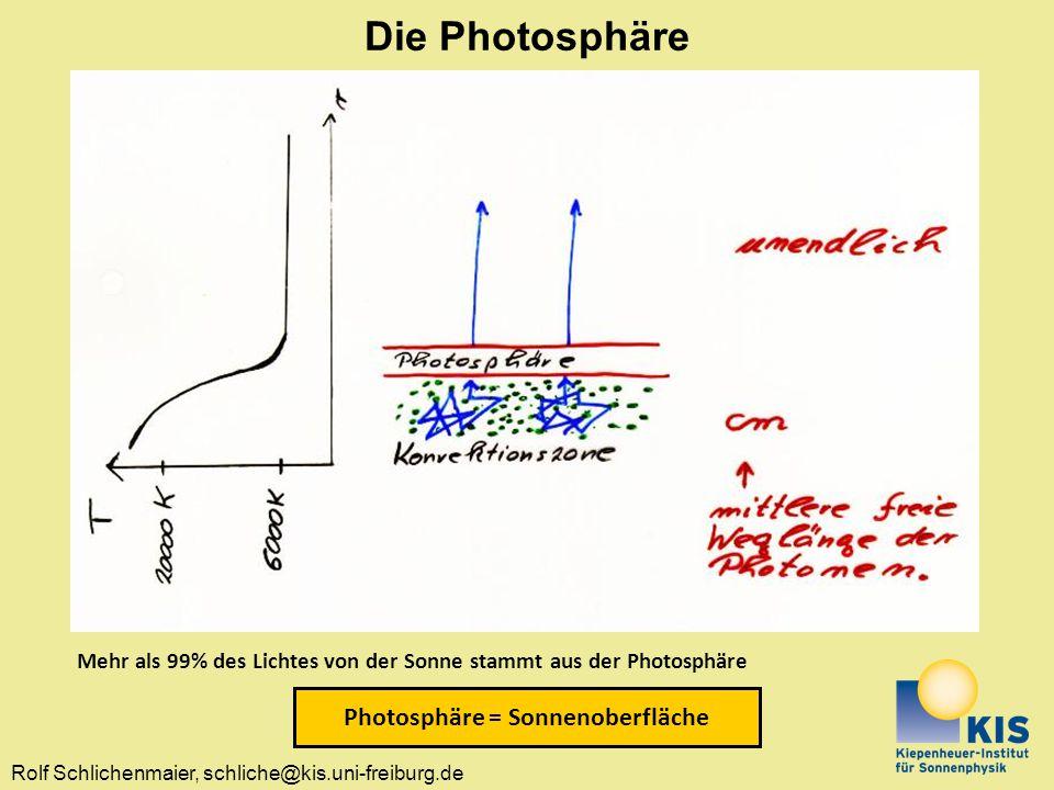 Rolf Schlichenmaier, schliche@kis.uni-freiburg.de Mehr als 99% des Lichtes von der Sonne stammt aus der Photosphäre Photosphäre = Sonnenoberfläche Die