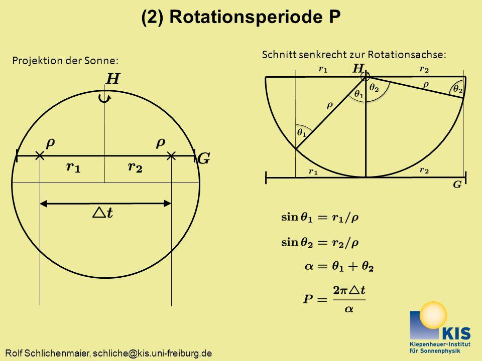 Rolf Schlichenmaier, schliche@kis.uni-freiburg.de (2) Rotationsperiode P Projektion der Sonne: Schnitt senkrecht zur Rotationsachse: