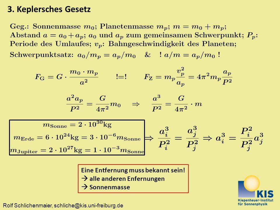 Rolf Schlichenmaier, schliche@kis.uni-freiburg.de 3. Keplersches Gesetz Eine Entfernung muss bekannt sein!  alle anderen Enfernungen  Sonnenmasse
