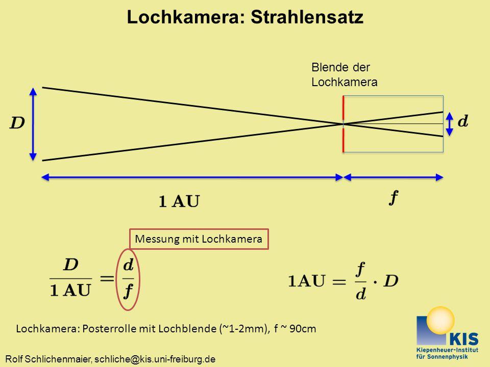 Rolf Schlichenmaier, schliche@kis.uni-freiburg.de Lochkamera: Strahlensatz Blende der Lochkamera Messung mit Lochkamera Lochkamera: Posterrolle mit Lo