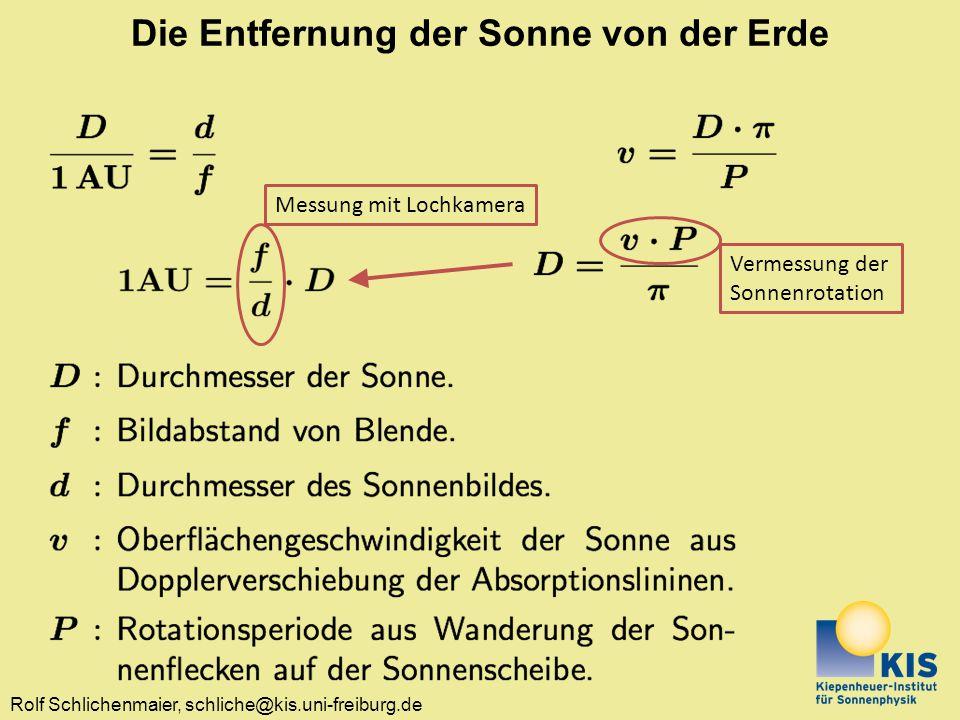 Rolf Schlichenmaier, schliche@kis.uni-freiburg.de Bestimmung der Sonnendurchmessers......