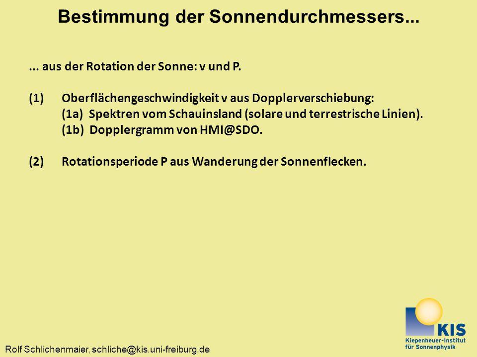 Rolf Schlichenmaier, schliche@kis.uni-freiburg.de Bestimmung der Sonnendurchmessers...... aus der Rotation der Sonne: v und P. (1)Oberflächengeschwind