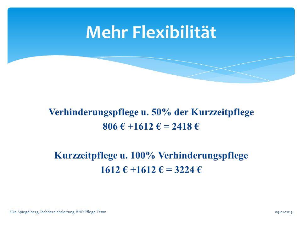 Verhinderungspflege u. 50% der Kurzzeitpflege 806 € +1612 € = 2418 € Kurzzeitpflege u. 100% Verhinderungspflege 1612 € +1612 € = 3224 € Mehr Flexibili