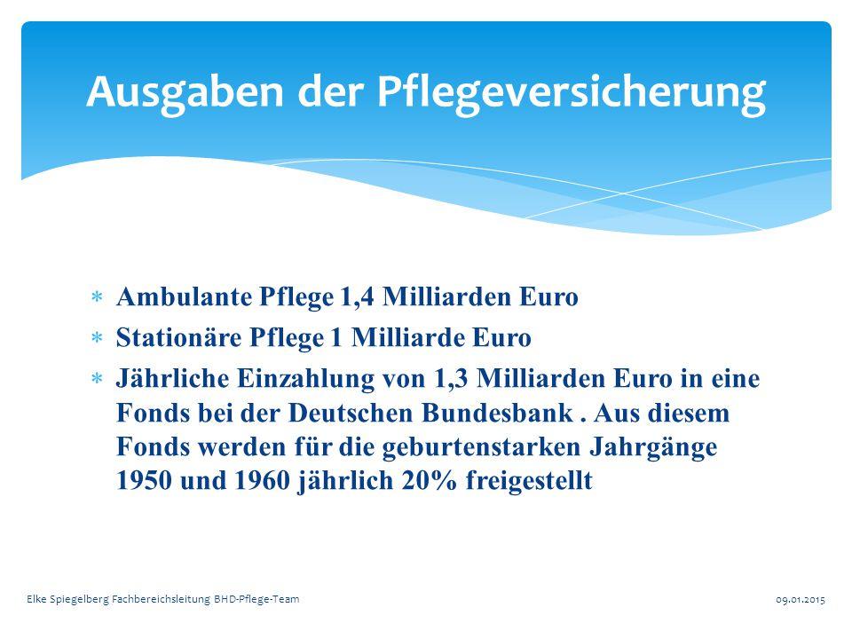  Ambulante Pflege 1,4 Milliarden Euro  Stationäre Pflege 1 Milliarde Euro  Jährliche Einzahlung von 1,3 Milliarden Euro in eine Fonds bei der Deuts