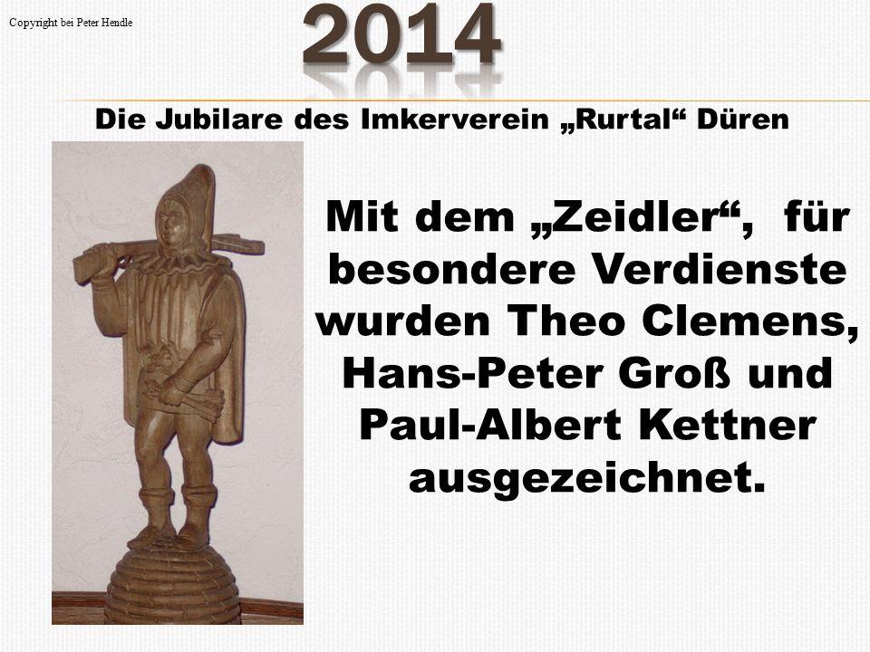 """Die Jubilare des Imkerverein """"Rurtal"""" Düren Mit dem """"Zeidler"""", für besondere Verdienste wurden Theo Clemens, Hans-Peter Groß und Paul-Albert Kettner a"""