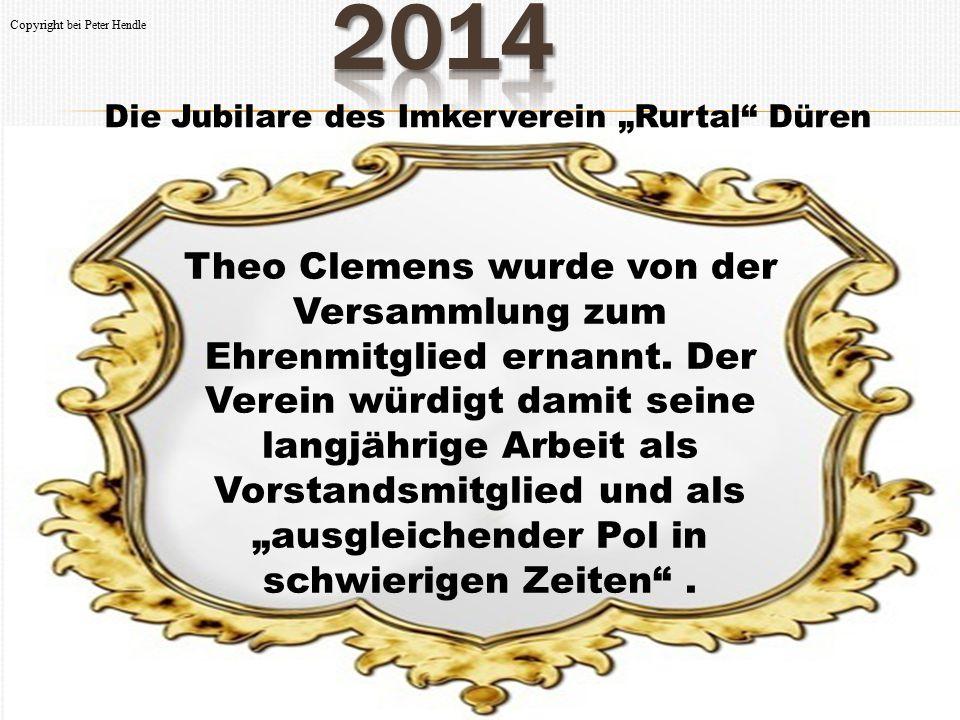 """Die Jubilare des Imkerverein """"Rurtal"""" Düren Theo Clemens wurde von der Versammlung zum Ehrenmitglied ernannt. Der Verein würdigt damit seine langjähri"""