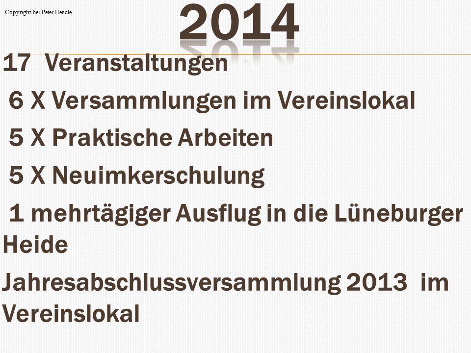  17 Veranstaltungen  6 X Versammlungen im Vereinslokal  5 X Praktische Arbeiten  5 X Neuimkerschulung  1 mehrtägiger Ausflug in die Lüneburger He