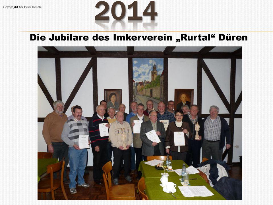 """Die Jubilare des Imkerverein """"Rurtal Düren Ehrennadeln in Bronze für 15-jährige Mitgliedschaften erhielten Wolfgang Meine, Paul Cichon, Dietmar Blaschyk, Dr."""