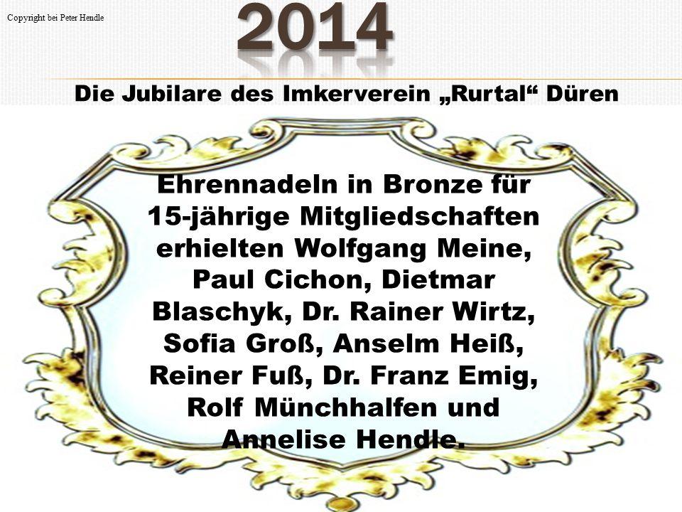 """Die Jubilare des Imkerverein """"Rurtal"""" Düren Ehrennadeln in Bronze für 15-jährige Mitgliedschaften erhielten Wolfgang Meine, Paul Cichon, Dietmar Blasc"""