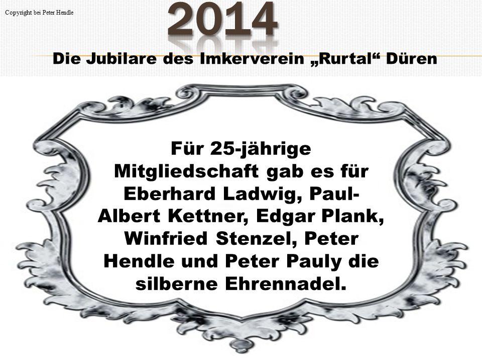 """Die Jubilare des Imkerverein """"Rurtal Düren Die Ehrennadel in Gold erhielten für 40-jährige Mitgliedschaft Frank Schmutzler, Hans Schumacher, Siegfried Hanz, Josef Rövenich, Karl Plützer und Franz Grunwald."""