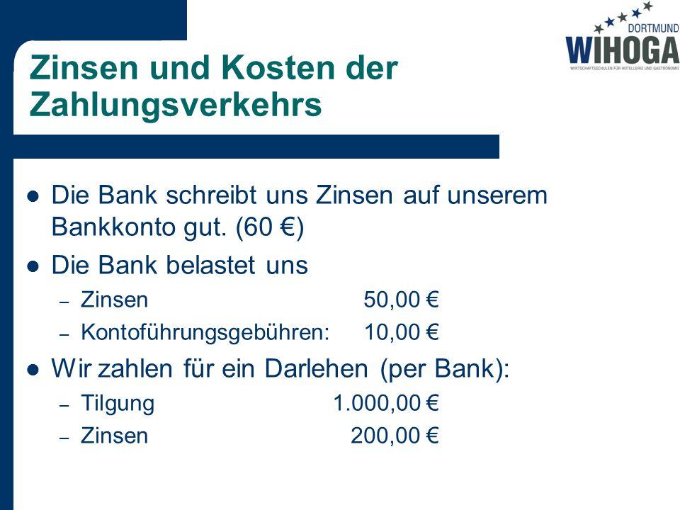 Zinsen und Kosten der Zahlungsverkehrs Die Bank schreibt uns Zinsen auf unserem Bankkonto gut.