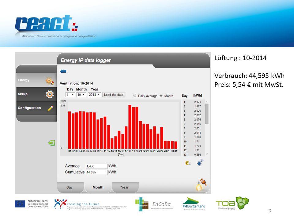 6 Lüftung : 10-2014 Verbrauch: 44,595 kWh Preis: 5,54 € mit MwSt.