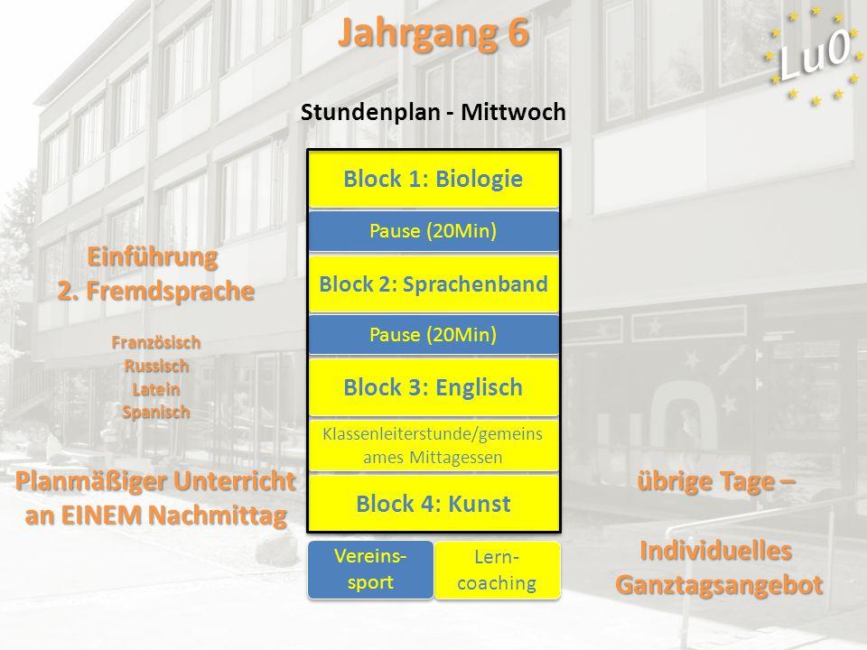 Block 1: Biologie Block 2: Sprachenband Block 3: Englisch Pause (20Min) Block 4: Kunst Klassenleiterstunde/gemeins ames Mittagessen Lern- coaching Ein
