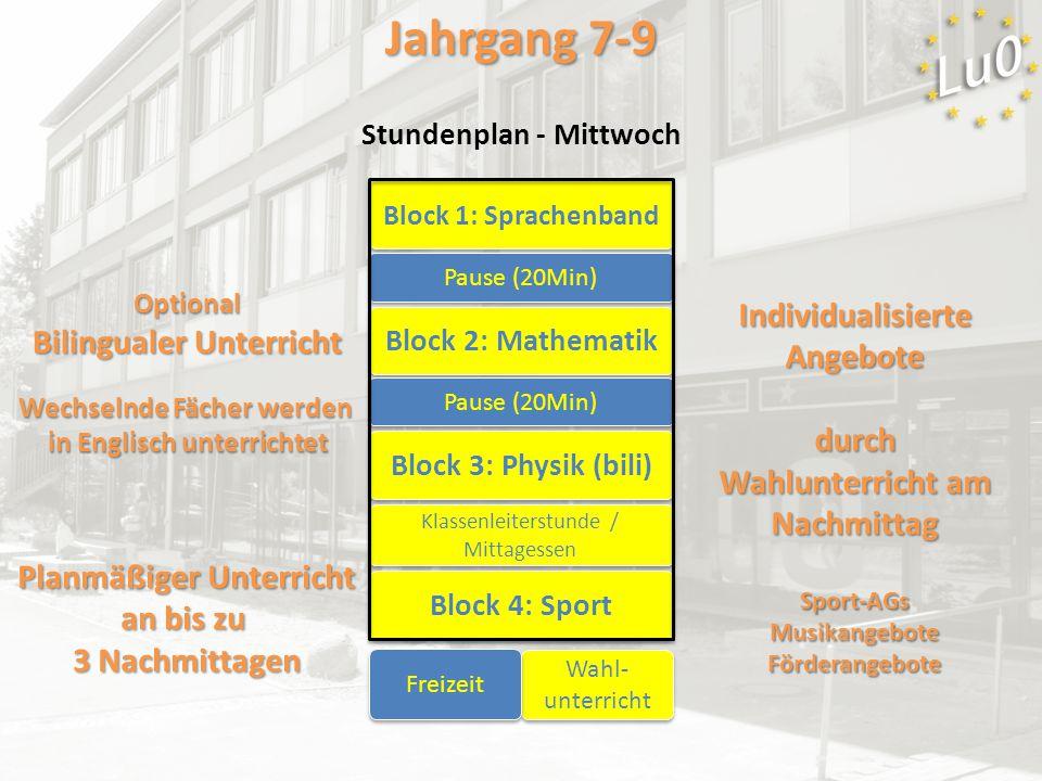 Block 1: Sprachenband Block 2: Mathematik Block 3: Physik (bili) Pause (20Min) Block 4: Sport Klassenleiterstunde / Mittagessen Wahl- unterricht Optio