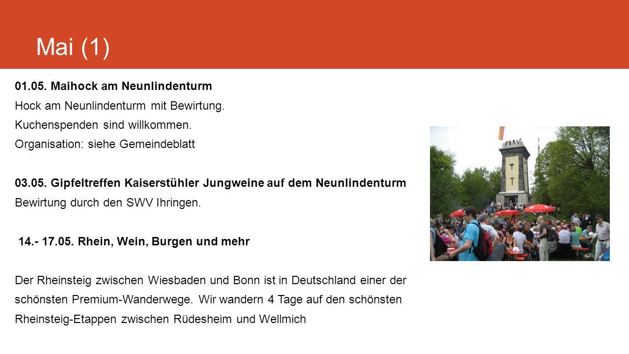 Mai (2) Anmeldeschluss 01.04.2015 1.Tag: Mit Schiff und Bahn von St.