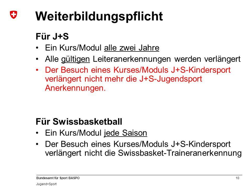 10 Bundesamt für Sport BASPO Jugend+Sport Weiterbildungspflicht Für J+S Ein Kurs/Modul alle zwei Jahre Alle gültigen Leiteranerkennungen werden verlängert Der Besuch eines Kurses/Moduls J+S-Kindersport verlängert nicht mehr die J+S-Jugendsport Anerkennungen.