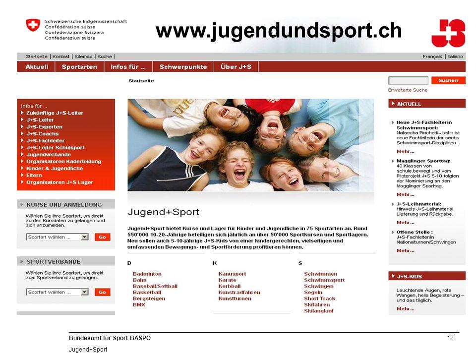 12 Bundesamt für Sport BASPO Jugend+Sport www.jugendundsport.ch